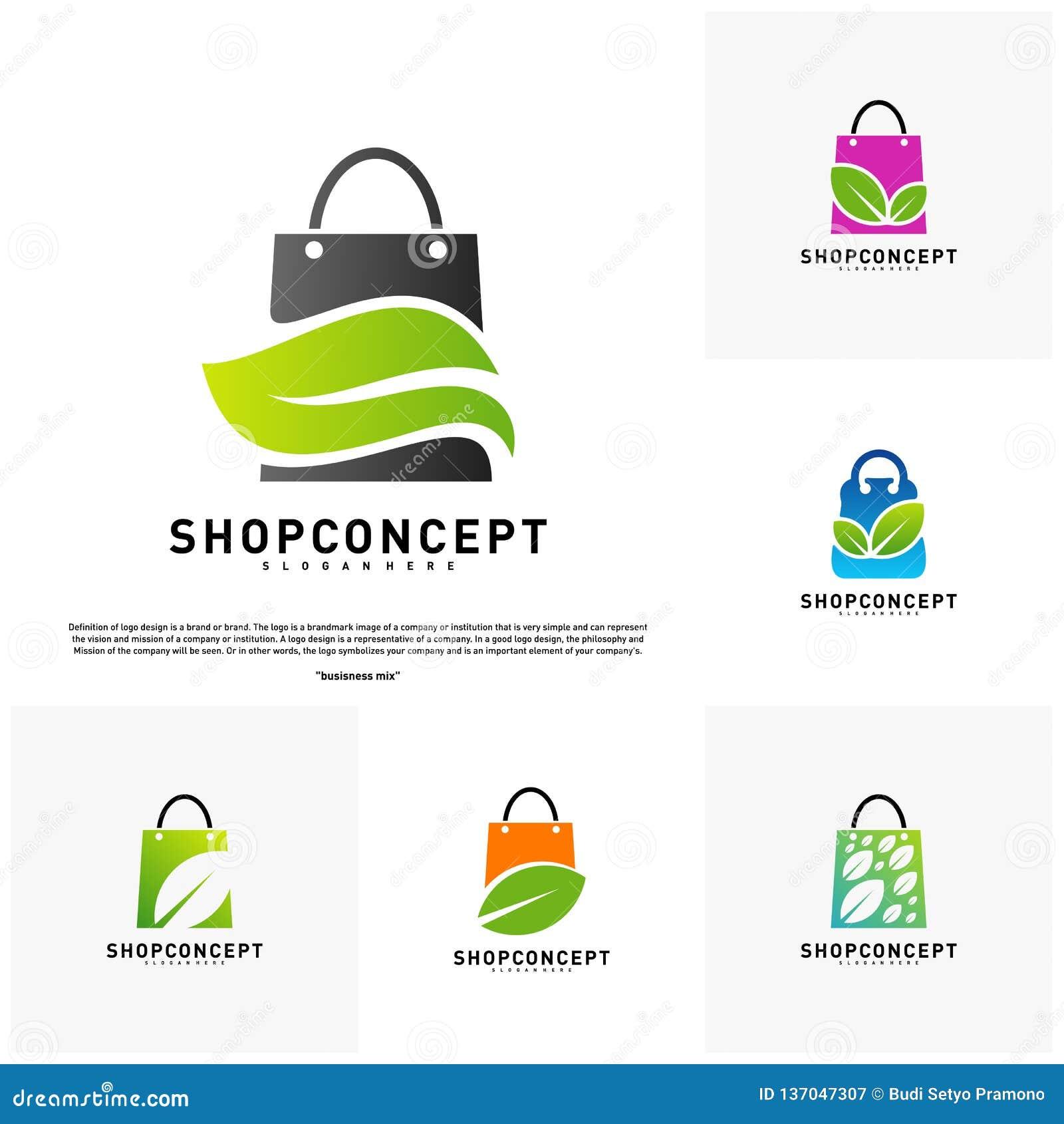 Metta del negozio Logo Design Concept della natura Centro commerciale con la foglia Logo Vector Simbolo dei regali e del negozio