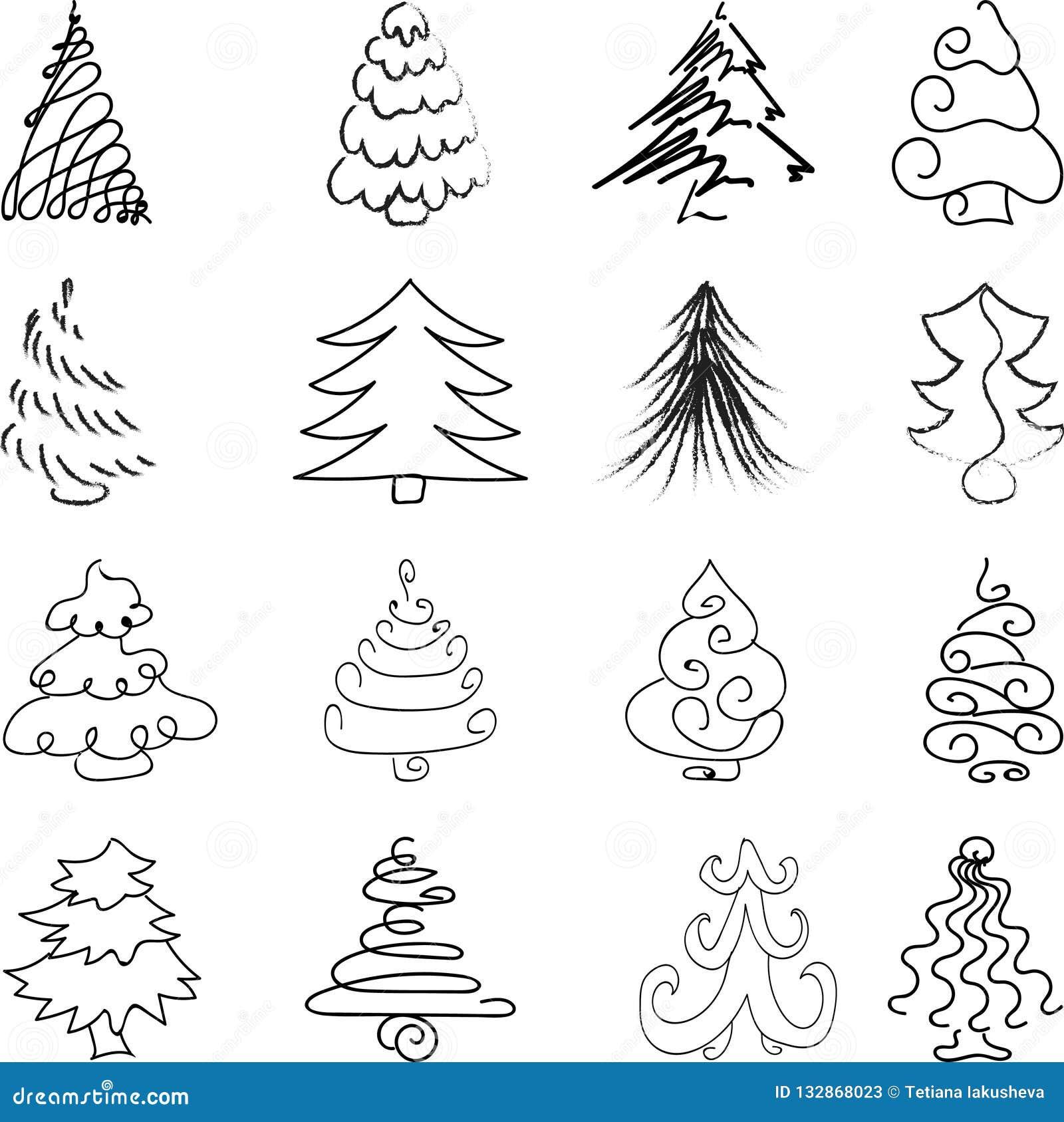 Disegni Di Alberi Di Natale.Metta Dell Albero Di Natale Di Disegno Della Mano