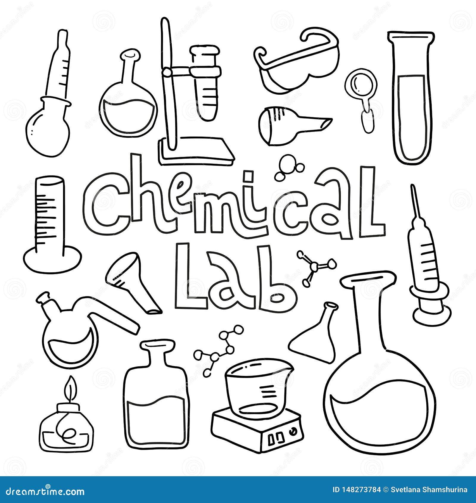 Metta dell attrezzatura di laboratorio nello stile descritto bianco nero di scarabocchio Insieme puerile disegnato a mano delle i