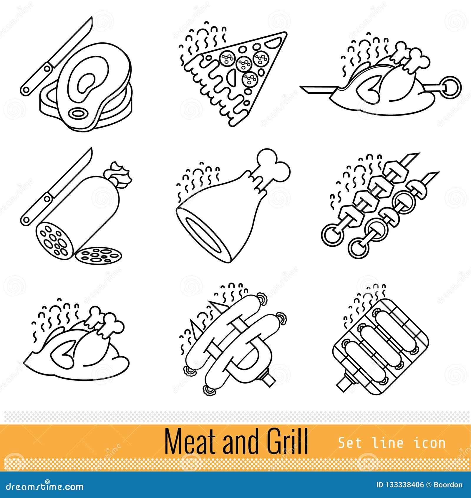 Metta dell icona semplice di web del profilo BBQ della griglia della carne isolato