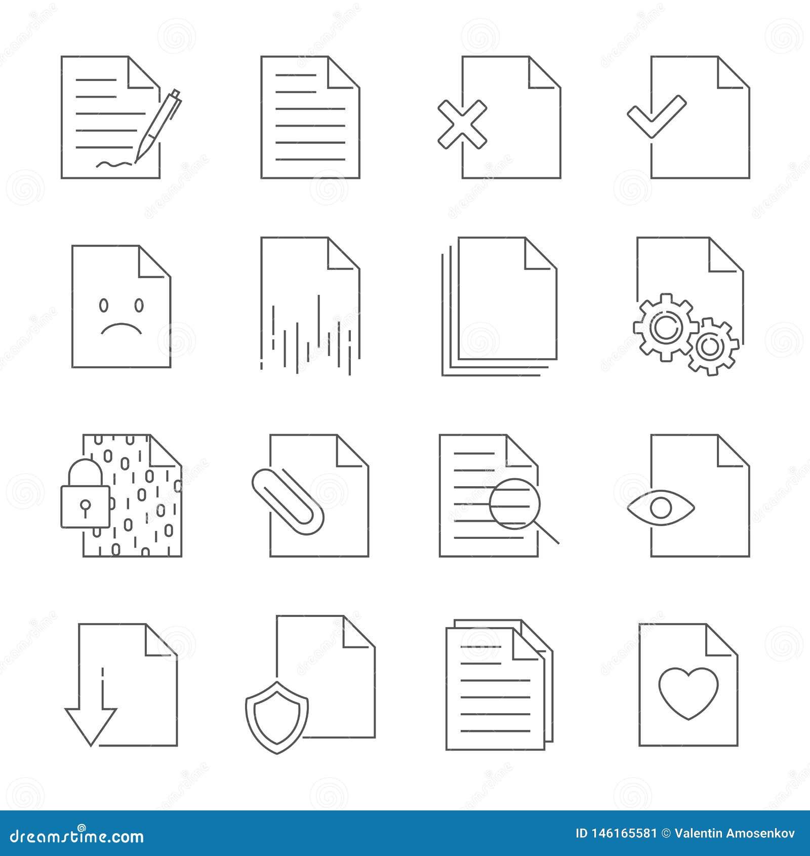 Metta della linea icone di vettore della gestione del flusso di documenti Colpo editabile
