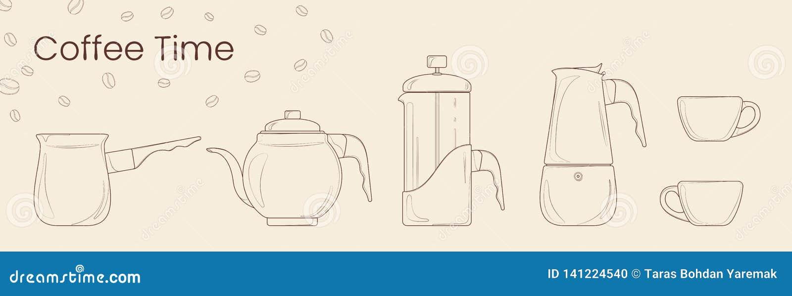 Metta della linea vettore di preparazione del caffè Cezve, bollitore del caffè, stampa francese, vaso di moka e tazza di caffè pe
