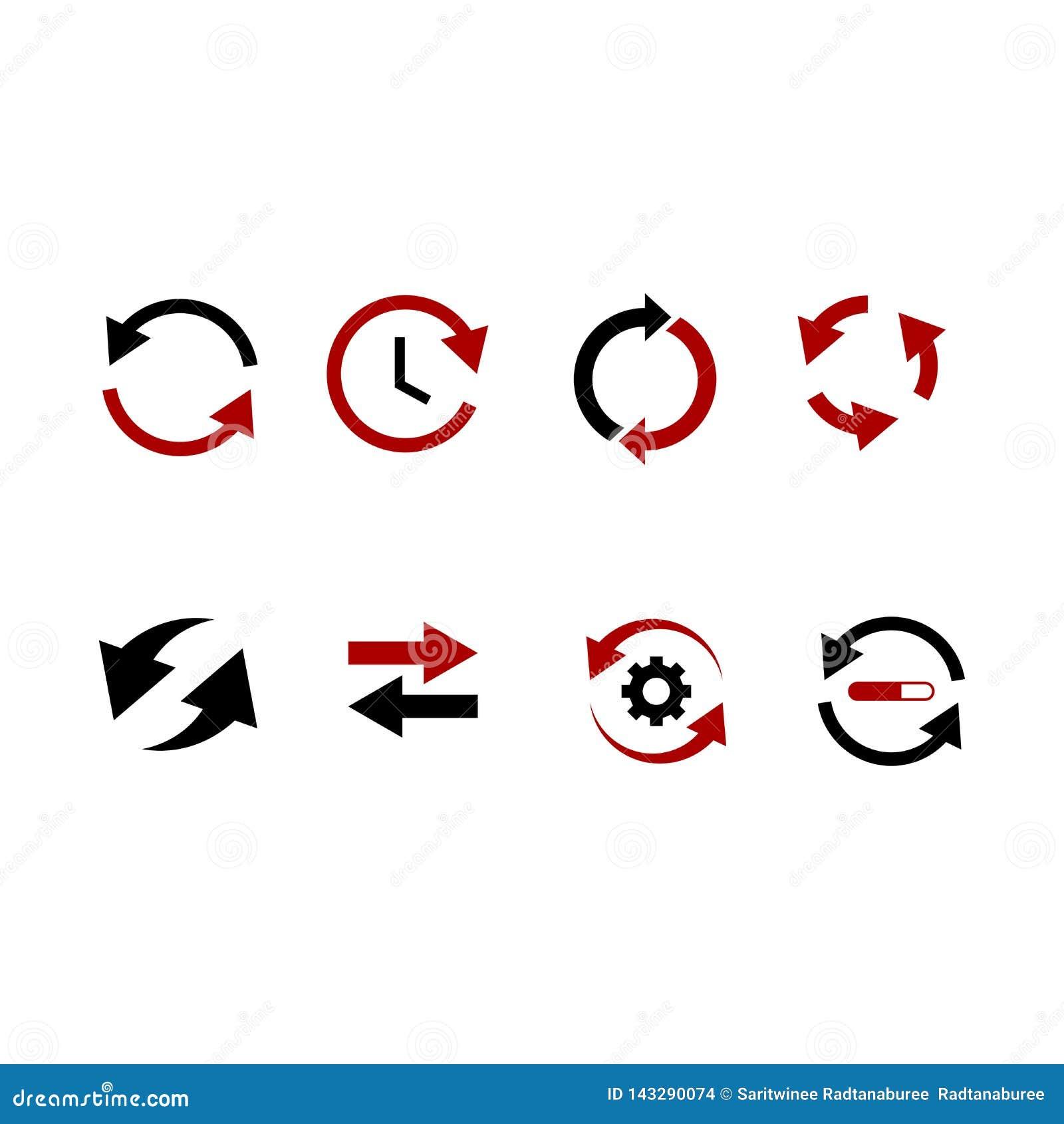 Metta della serie nera della freccia di vettore delle icone della freccia, i vari stili, il nero, bianco sul vettore