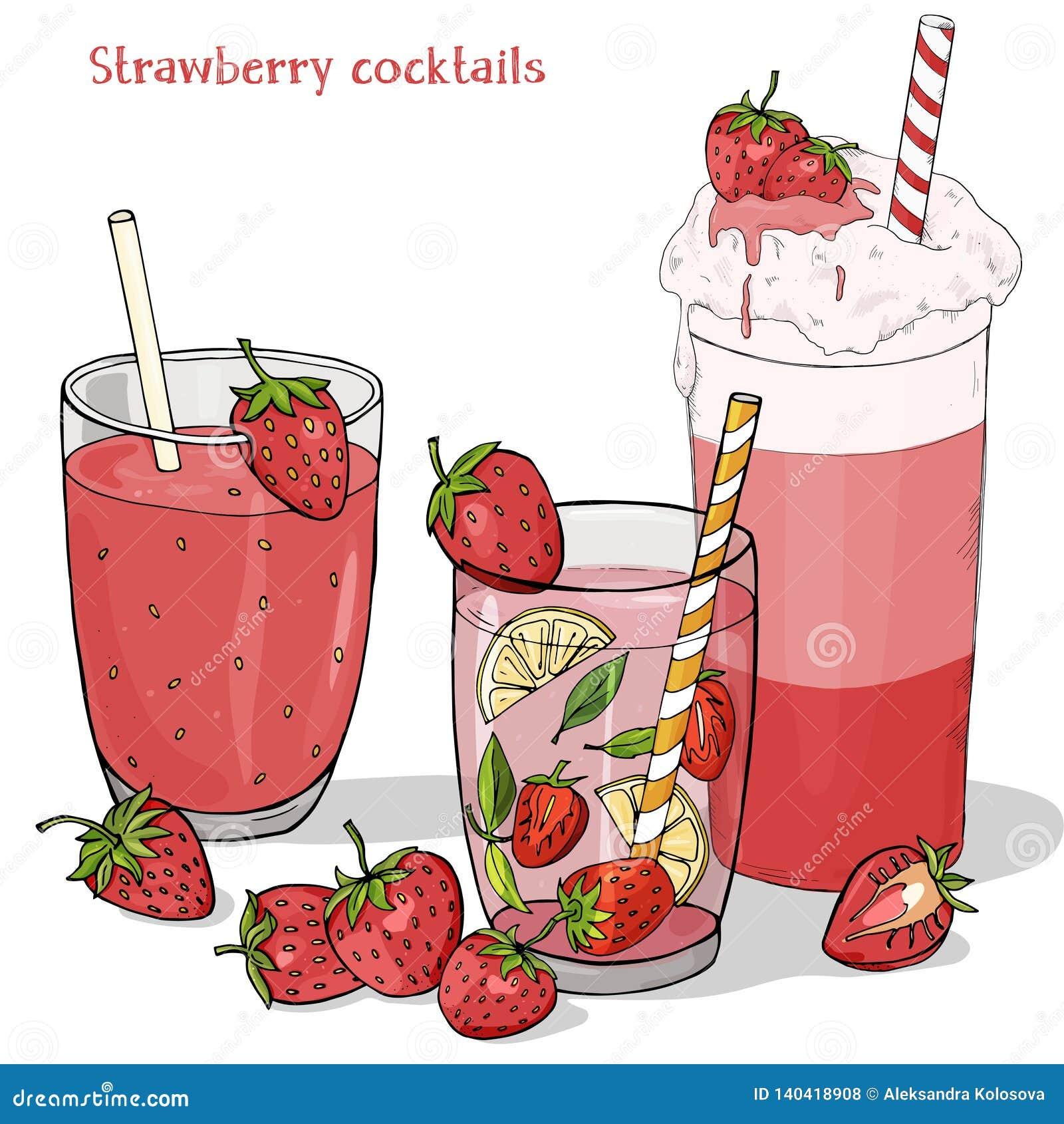Metta delle bevande di rinfresco dell estate dalle fragole Frappé, fragola Mojito, bevanda fresca e fragola fresca