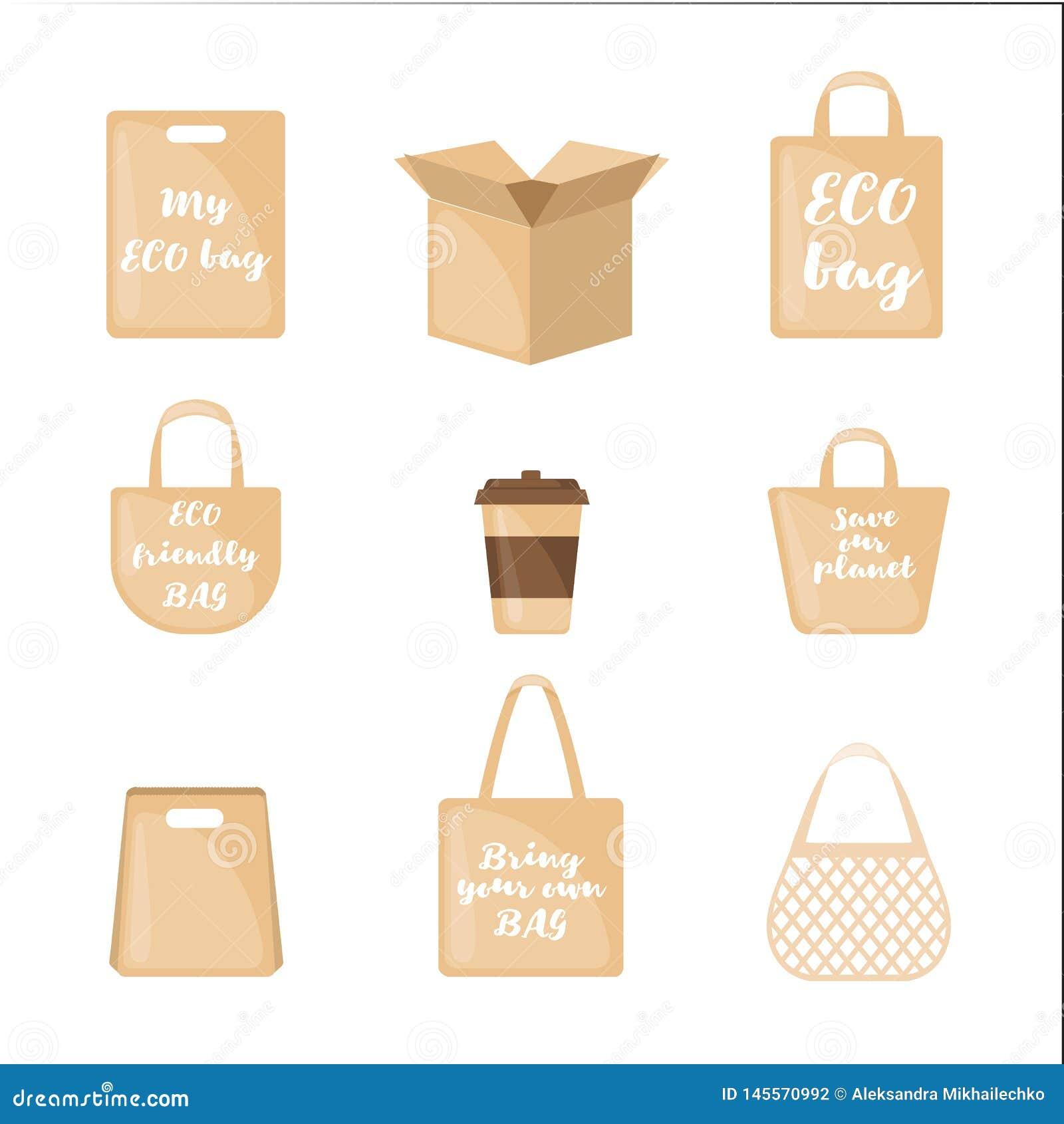 Metta delle icone d imballaggio di Eco nello stile piano