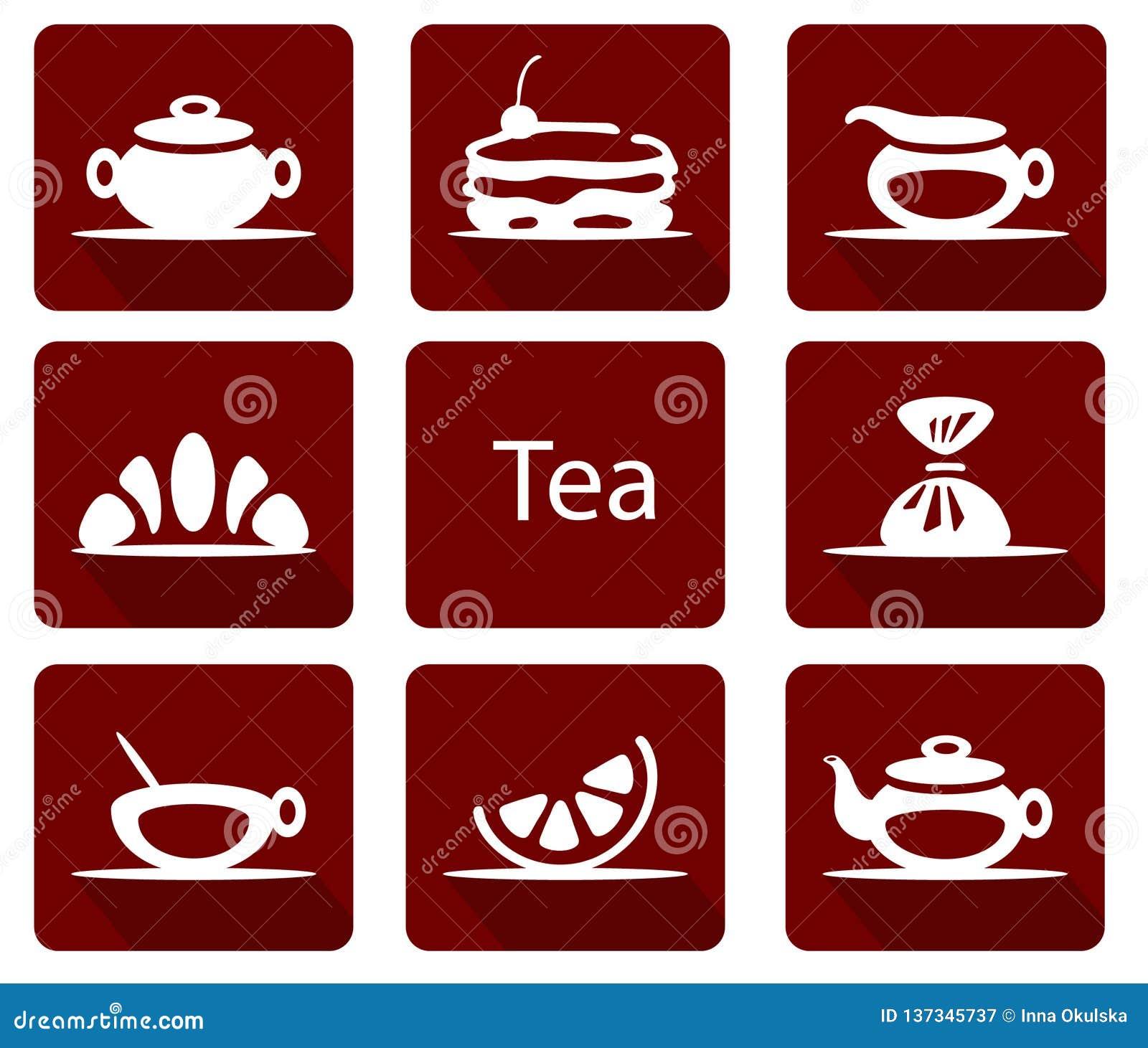 Metta delle icone del tè con il croissant del dolce del limone della caramella