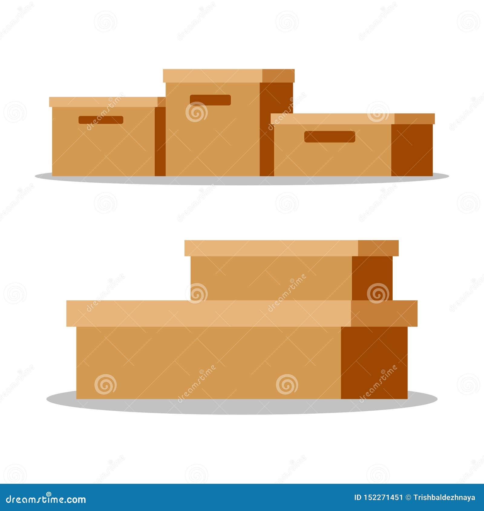 Metta delle scatole di cartone di carta marroni chiuse vuote