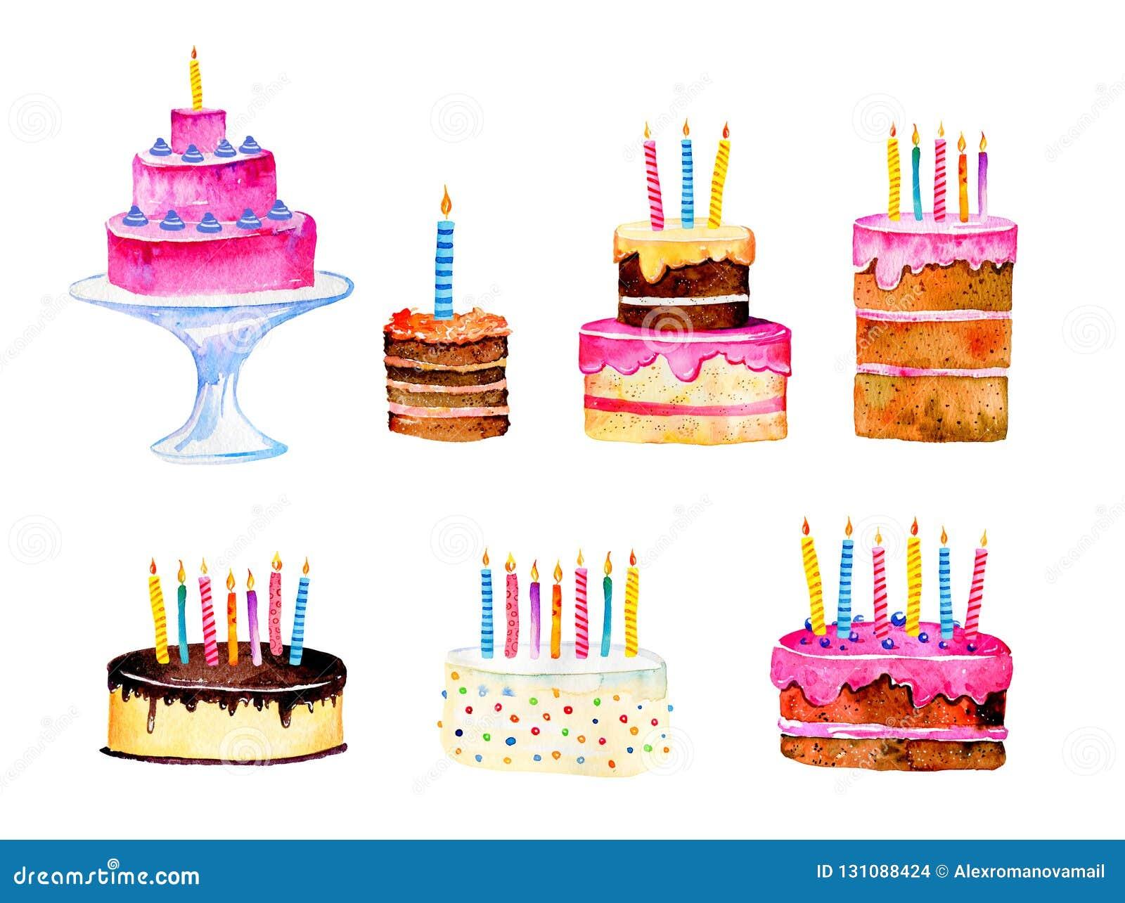 Torta Compleanno Stilizzata.Metta Delle Torte Di Compleanno Stilizzate Con Le Candele Illustrazione Di Stock Illustrazione Di Colore Invito 131088424