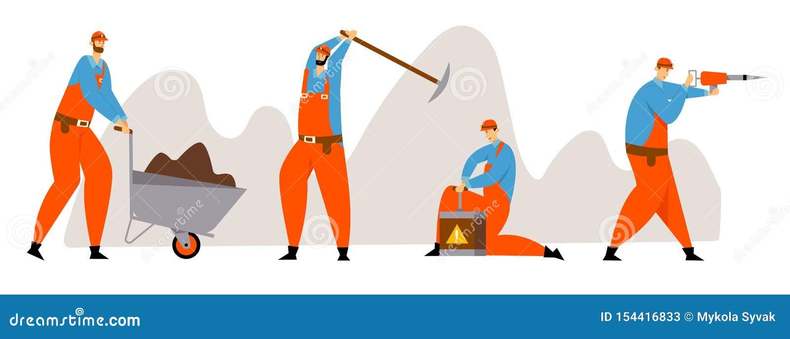 Metta di estrazione mineraria del minatore Characters, del carbone o dei minerali, lavoratori in uniforme con il martello pneumat