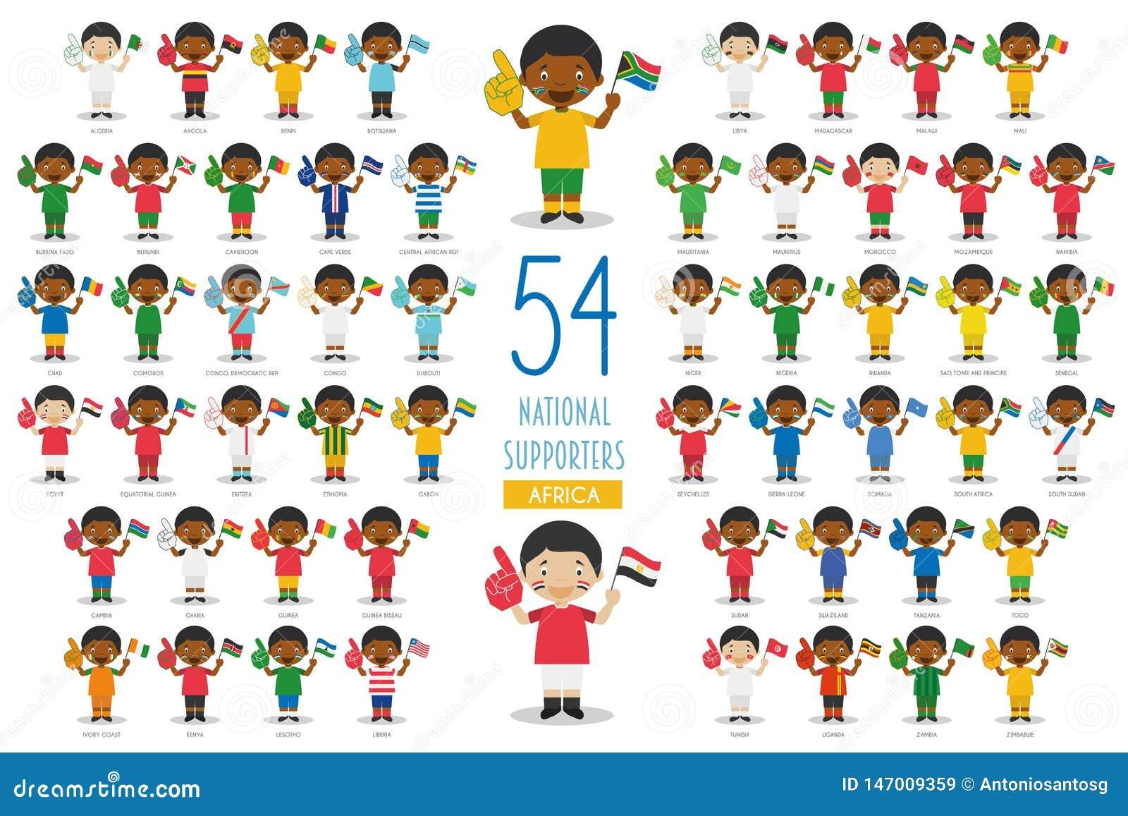 Metta di 54 fan nazionali dello sport di squadra dall illustrazione di vettore dei paesi africani