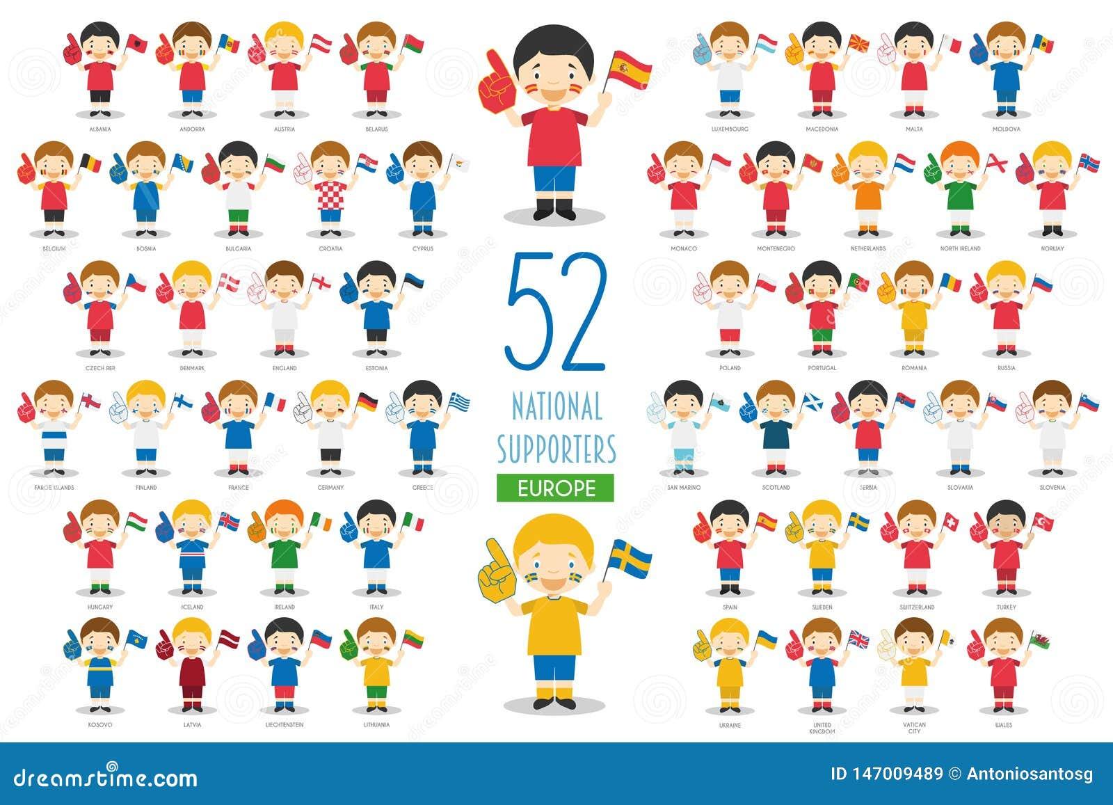 Metta di 52 fan nazionali dello sport di squadra dall illustrazione di vettore dei paesi europei