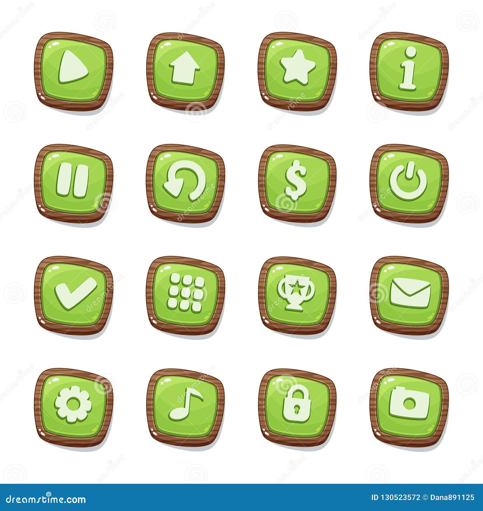 Metta di 16 icone verdi della gelatina nei telai di legno isolati su fondo bianco per l interfaccia utente del gioco Elementi mob