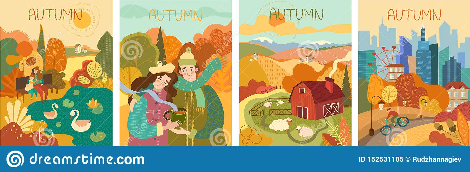 Metta di quattro dipinti variopinti di vita di autunno