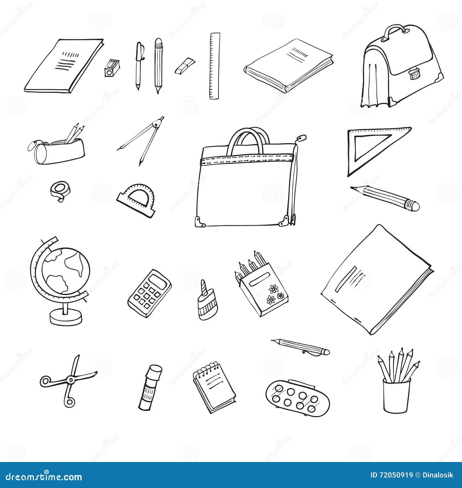 Metta gli oggetti per l 39 ufficio e la scuola illustrazione for Oggetti per ufficio