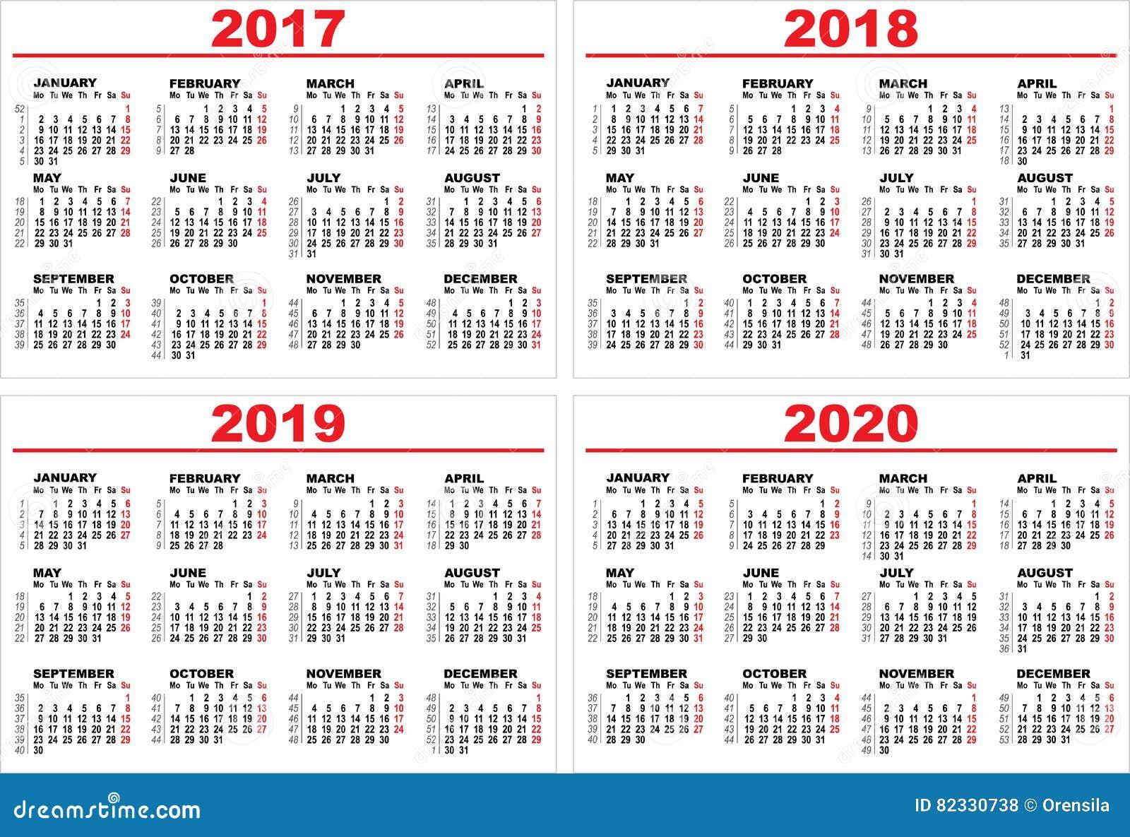 Calendario Trimestrali 2020.Metta Il Calendario Murale Di Griglia Per 2017 2018 2019