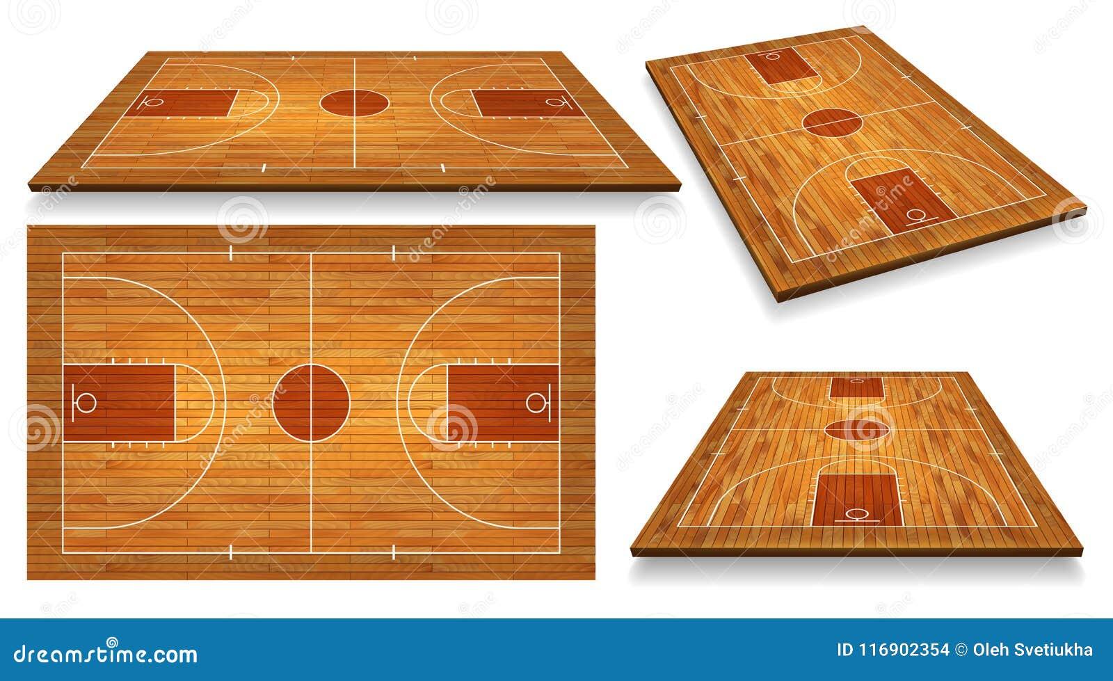 Metta il pavimento del campo da pallacanestro di prospettiva con la linea sul fondo di legno di struttura Illustrazione di vettor