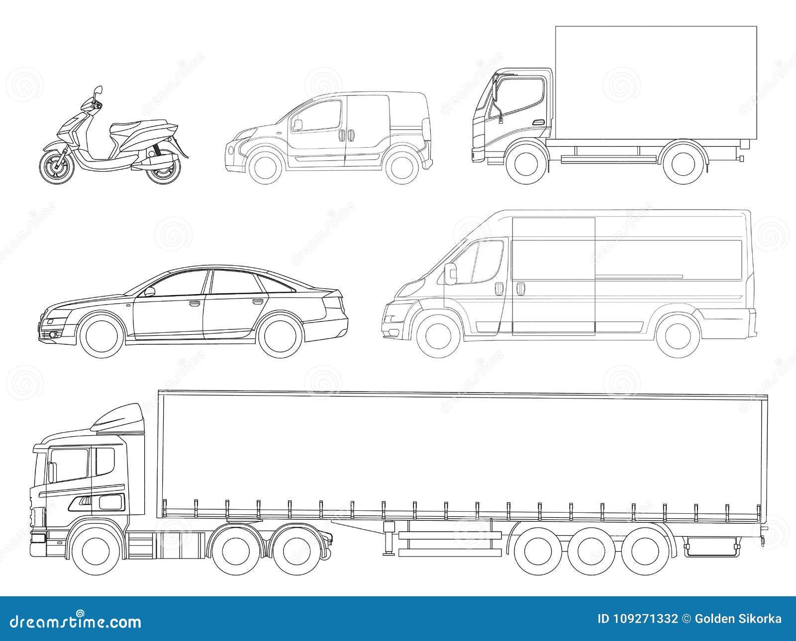 Metta il profilo delle automobili Trasporto di logistica Rimorchio del camion di vista laterale, camion dei semi, consegna del ca