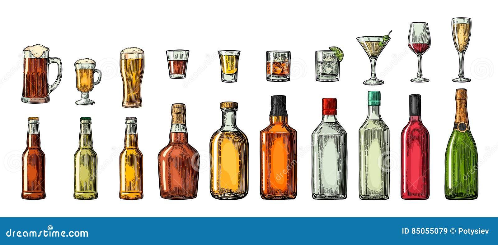 Metta la birra della bottiglia e di vetro, il whiskey, il vino, il gin, il rum, la tequila, il cognac, il champagne, il cocktail,