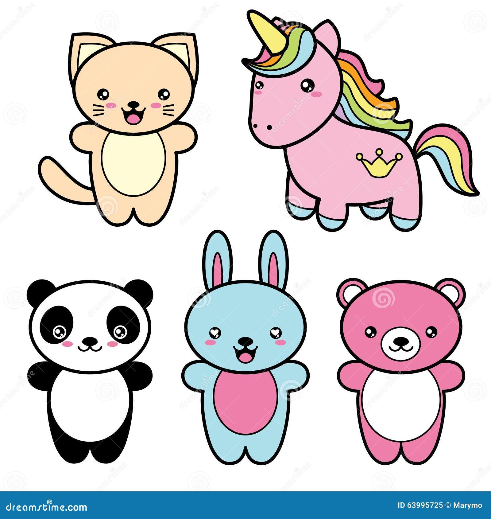 Metta la raccolta degli animali sorridenti felici di stile for Immagini disegni kawaii