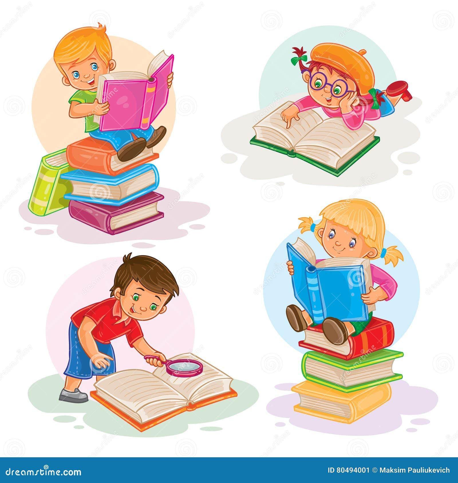 Metta Le Icone Di Piccoli Bambini Che Leggono Un Libro Illustrazione