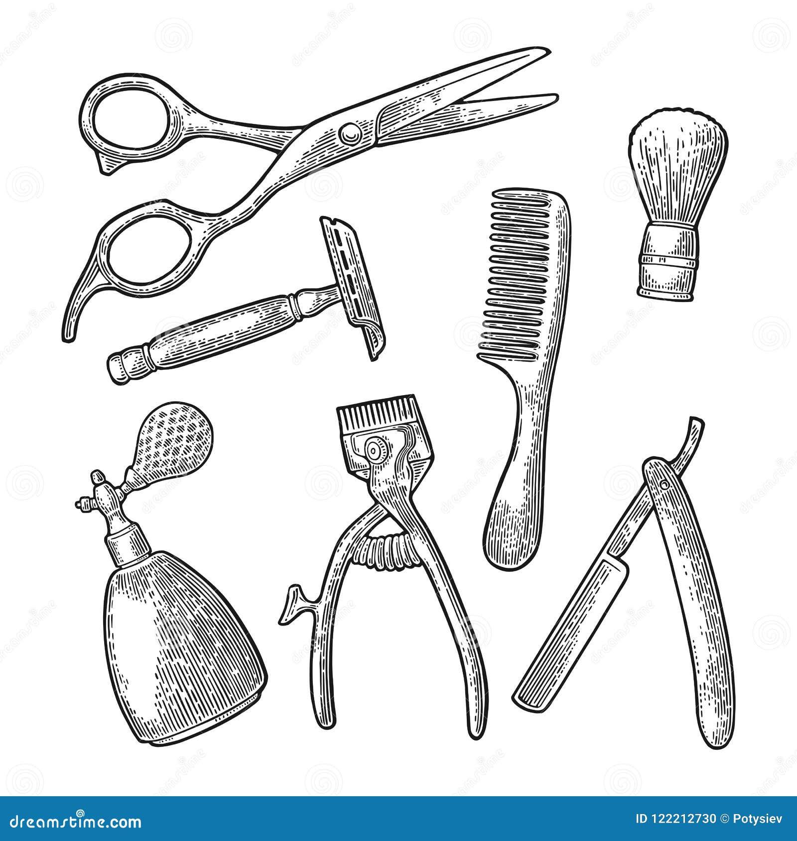 Metta lo strumento per il parrucchiere Incisione d annata nera di vettore