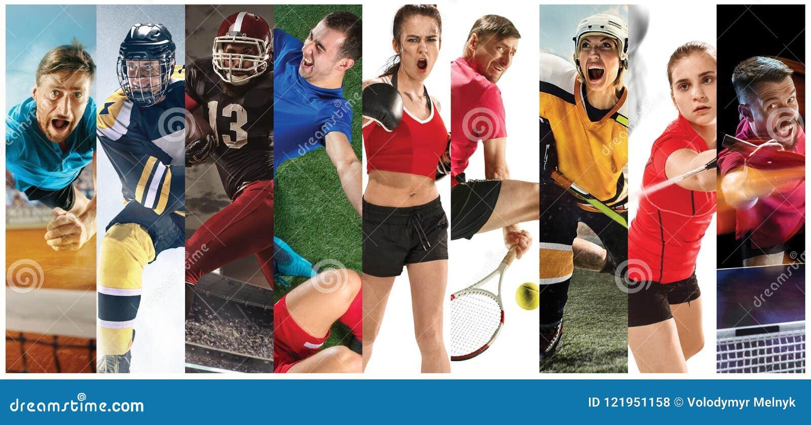 Metta in mostra il collage circa calcio, football americano, volano, il tennis, il pugilato, il ghiaccio ed il hockey su prato, p