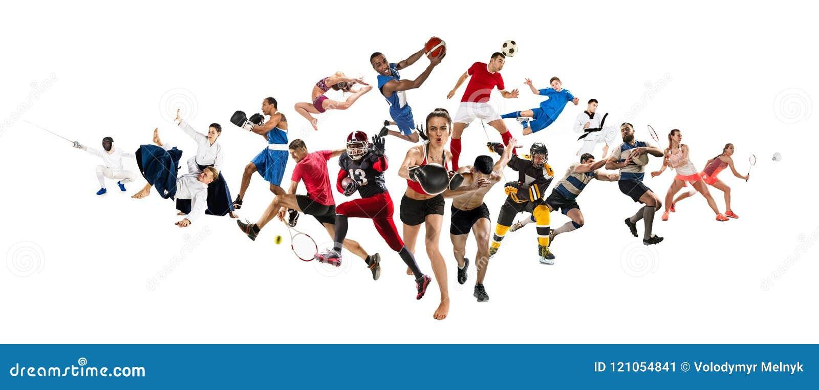Metta in mostra il collage circa il kickboxing, il calcio, il football americano, la pallacanestro, il hockey su ghiaccio, il vol