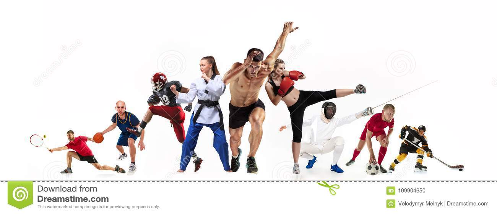 Metta in mostra il collage circa pugilato, il calcio, il football americano, la pallacanestro, il hockey su ghiaccio, recintare,
