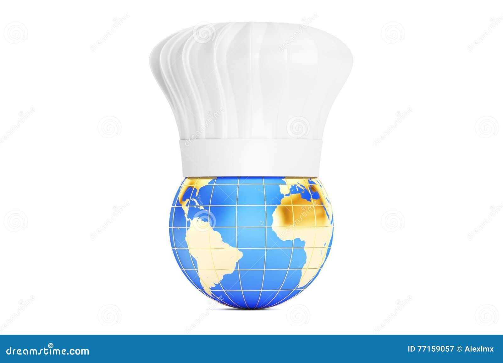 Mettez à la terre avec le chapeau de chefs, concept international de cuisine rendu 3d