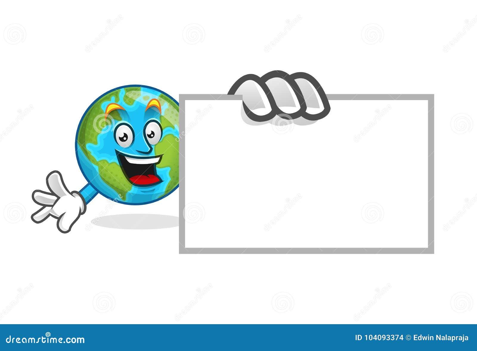 Mettez La Terre Mascotte Avec Carte De Visite Professionnelle Vierge