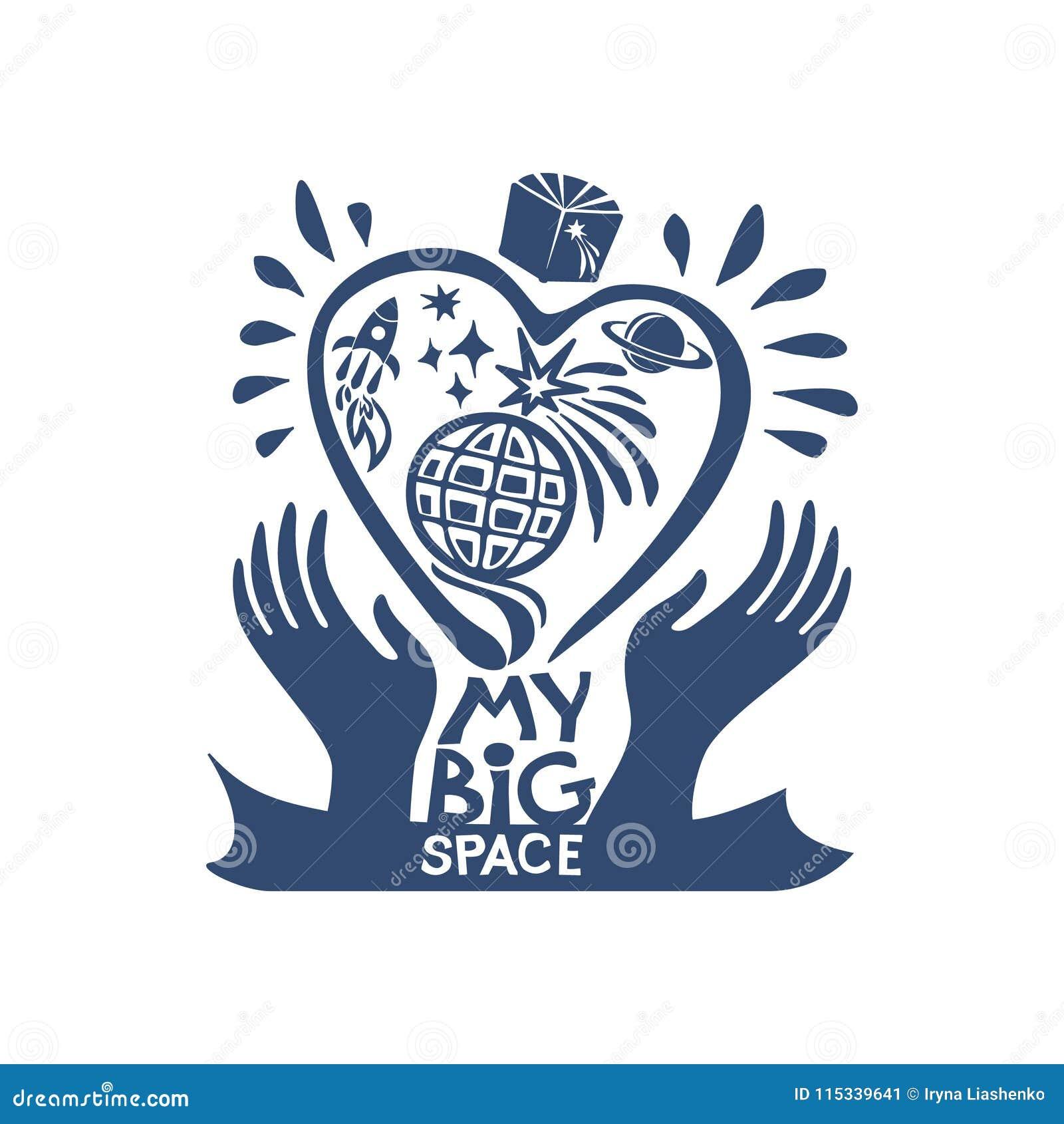 Meu espaço grande Universo Eu amo o cosmos Símbolo gráfico liso do sonho do espaço,