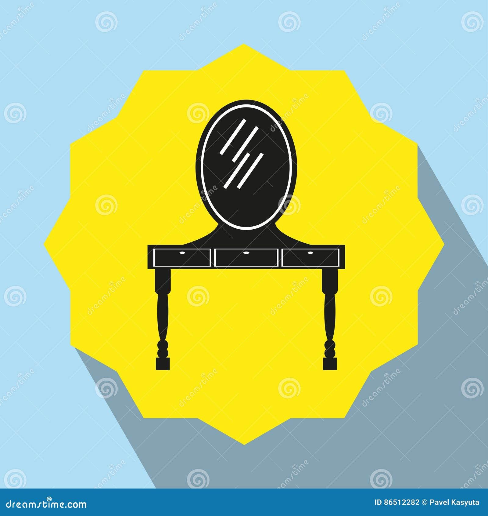Toilettafel Met Spiegel Wit.Meubels Toilettafel Met Spiegel Het Pictogram Van Toestellen Zwart