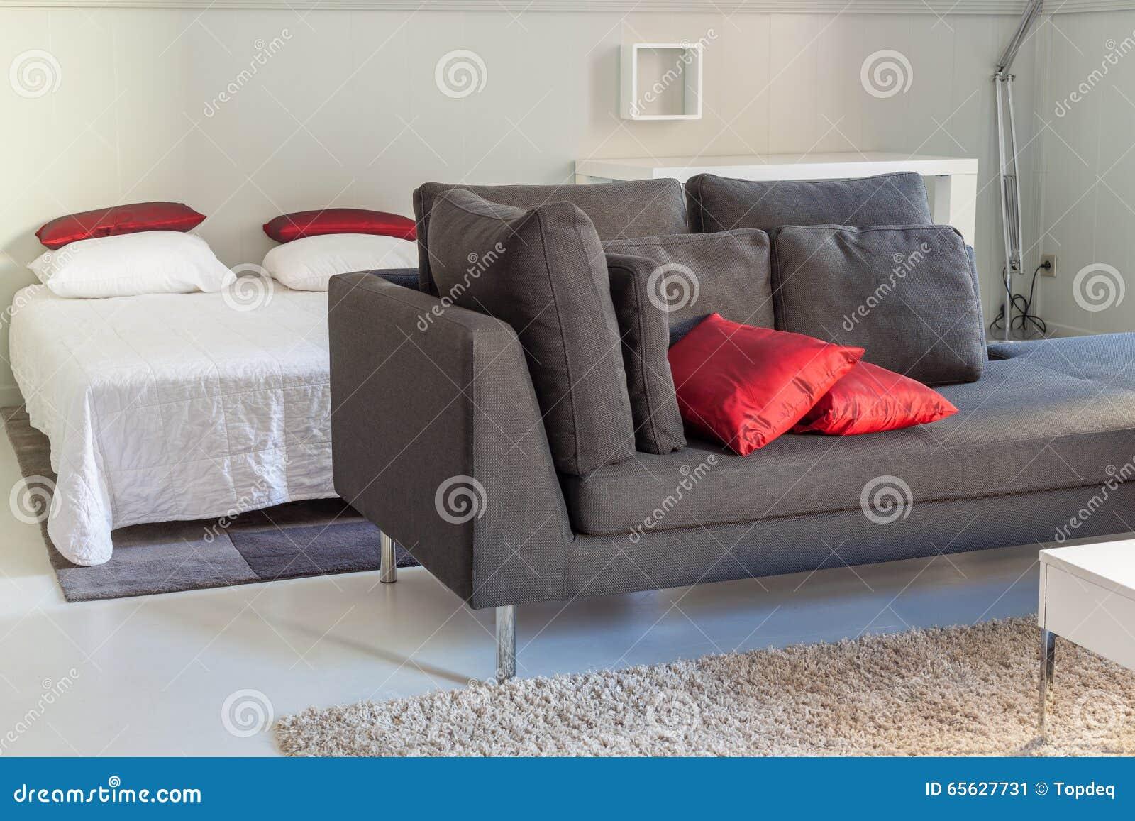 Meubles confortables d appartements modernes : un sofa avec des oreillers
