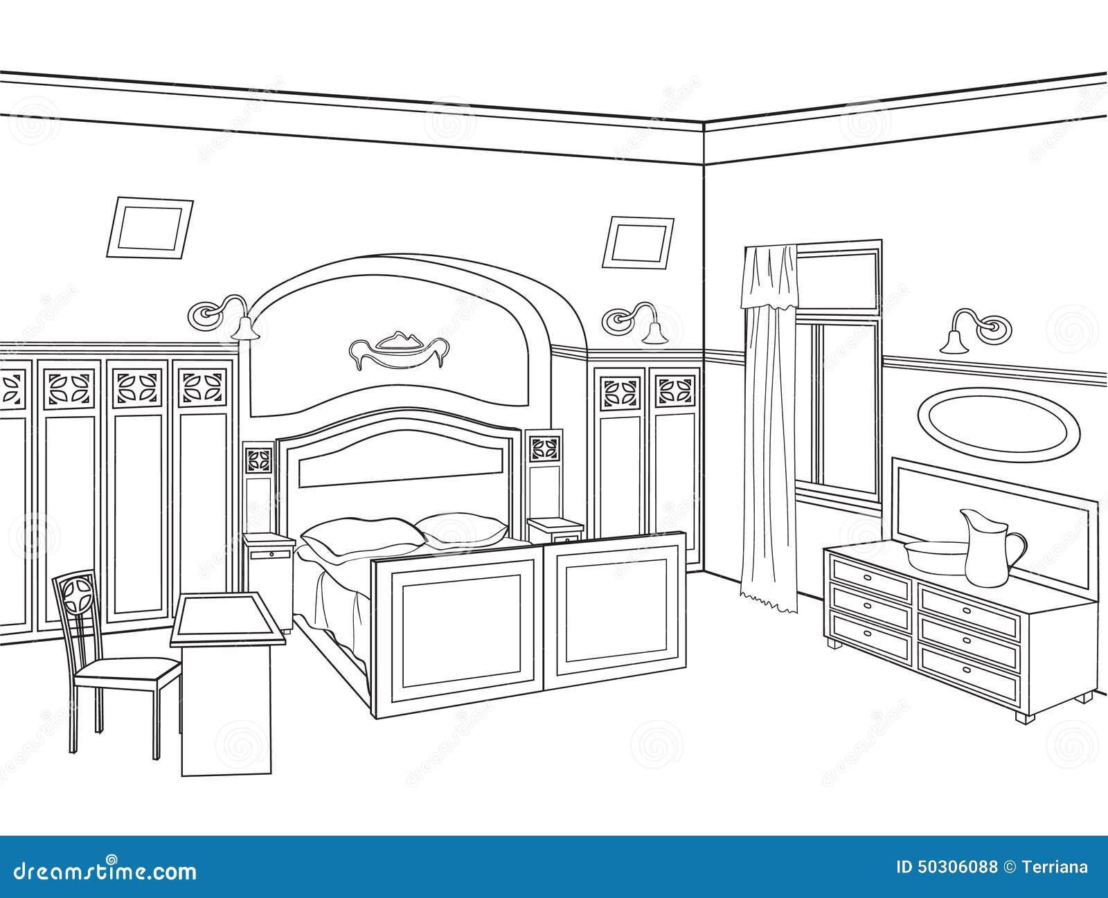 Meuble Chambre Dessin : Meubles de chambre à coucher illustration editable d un