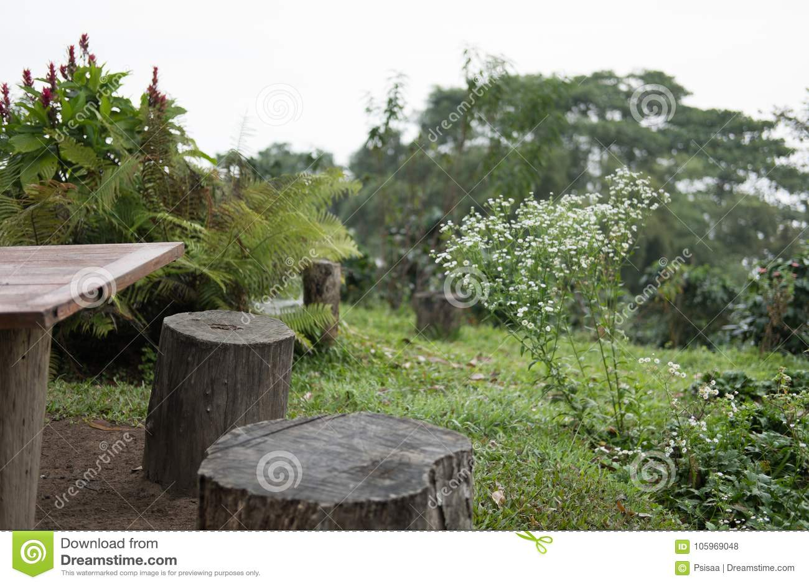 Meubles De Jardin Faits à Partir Du Rondin En Bois Photo stock ...