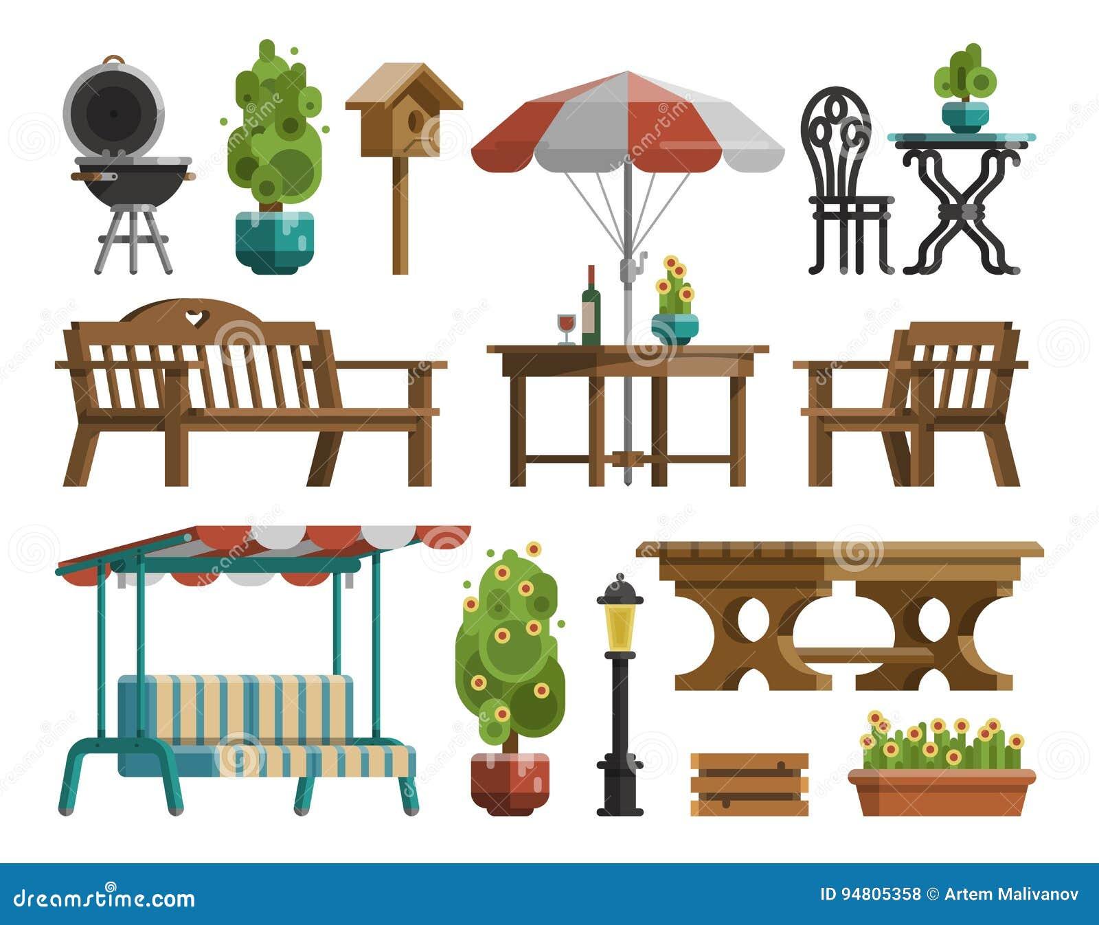 Meubles De Jardin, Tables, Chaises, Arbres Décoratifs Illustration ...