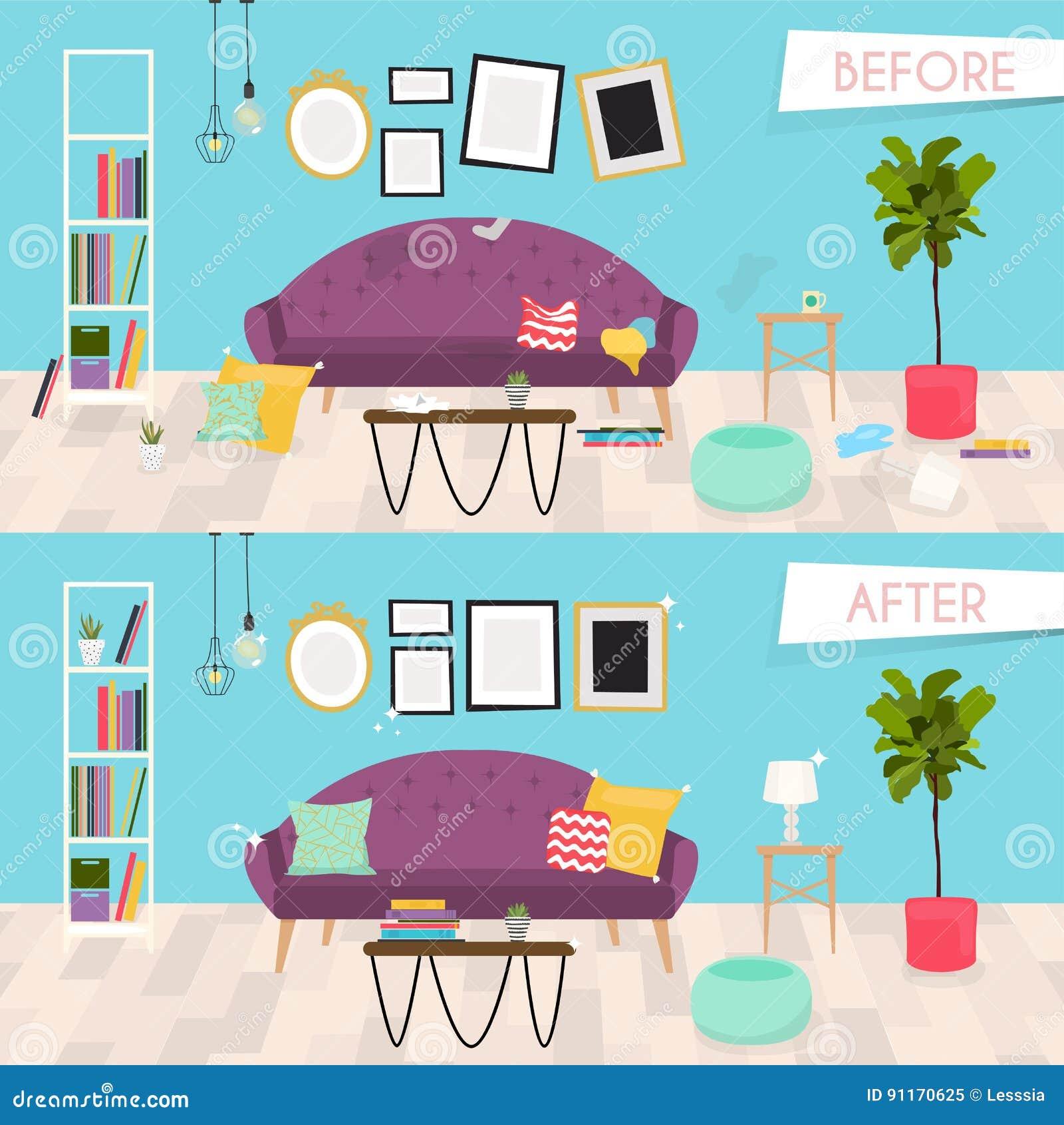 Meubles de salon avant et après le nettoyage intérieur à la maison r illustration de vecteur
