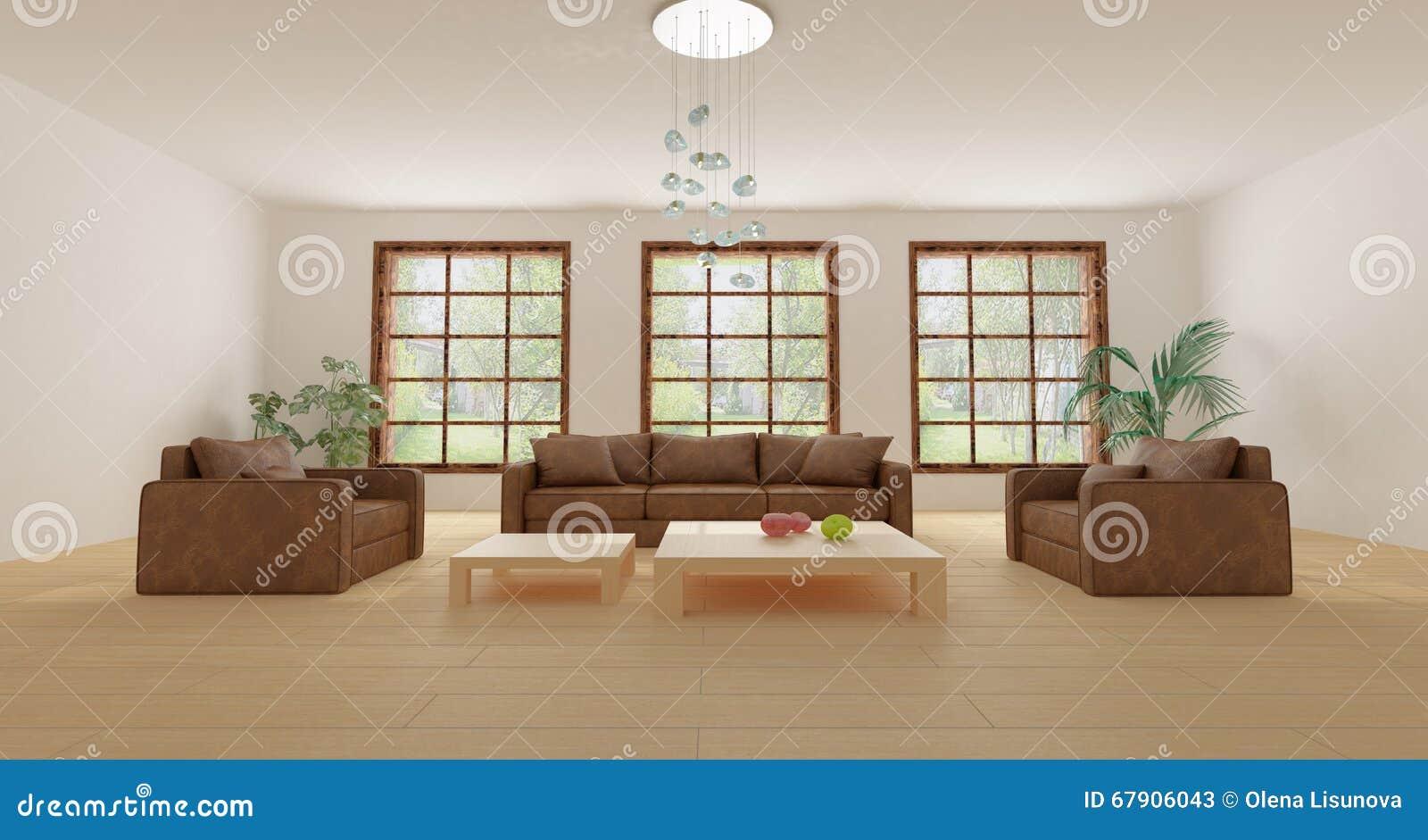 Meubles en cuir dans le salon moderne vide avec des usines ...