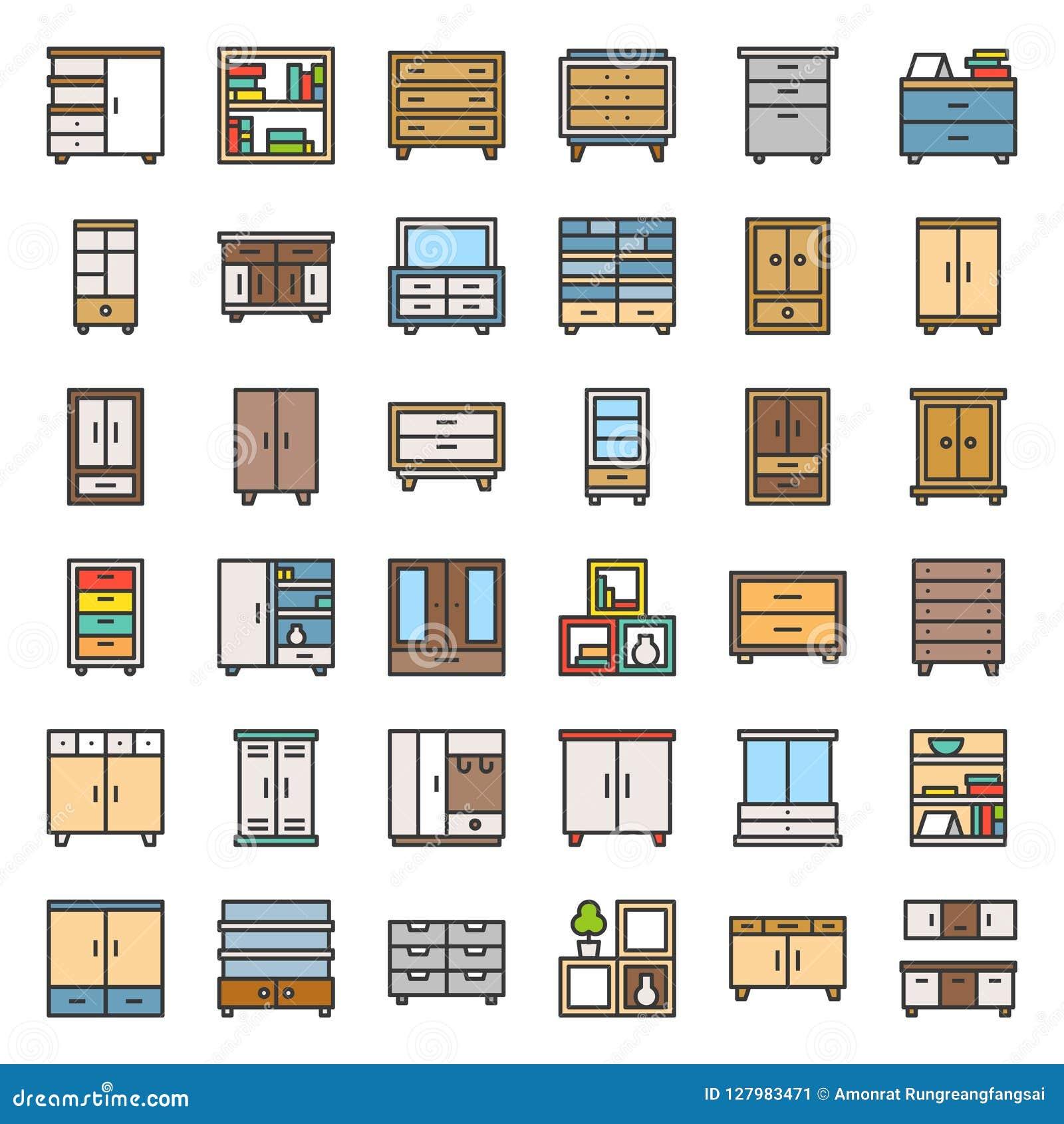 Meubles intérieurs de placard et de coffret, ensemble rempli d icône d ensemble