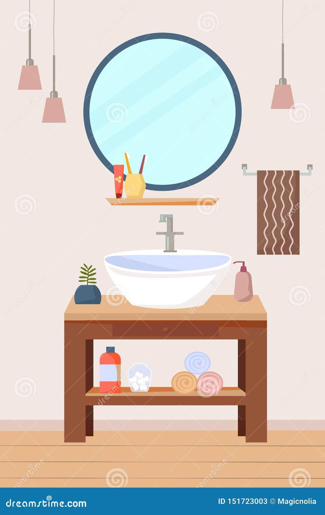 Meubles intérieurs de salle de bains avec l évier et l étagère en bois, un miroir rond, lampes, serviettes Illustration plate de
