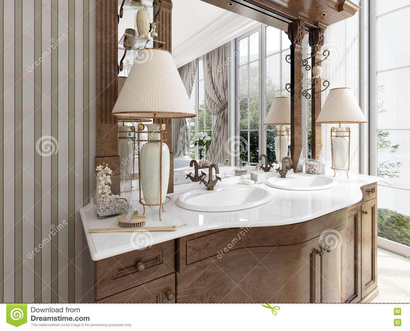 Meubles néoclassiques de luxe dans le style moderne dans la salle de bains