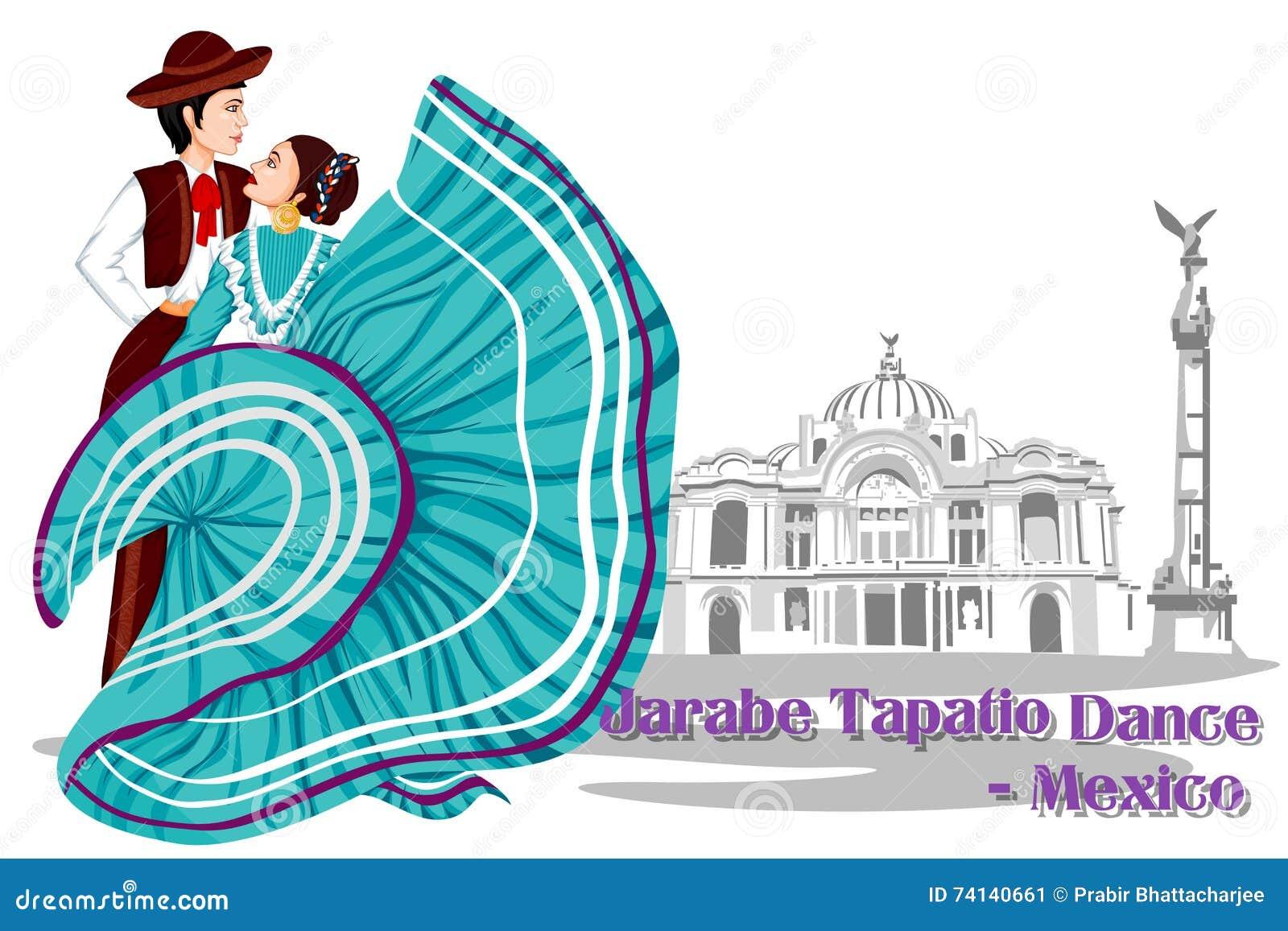 Mexicaans Paar die de Dans van Jarabe Tapatio van Mexico uitvoeren