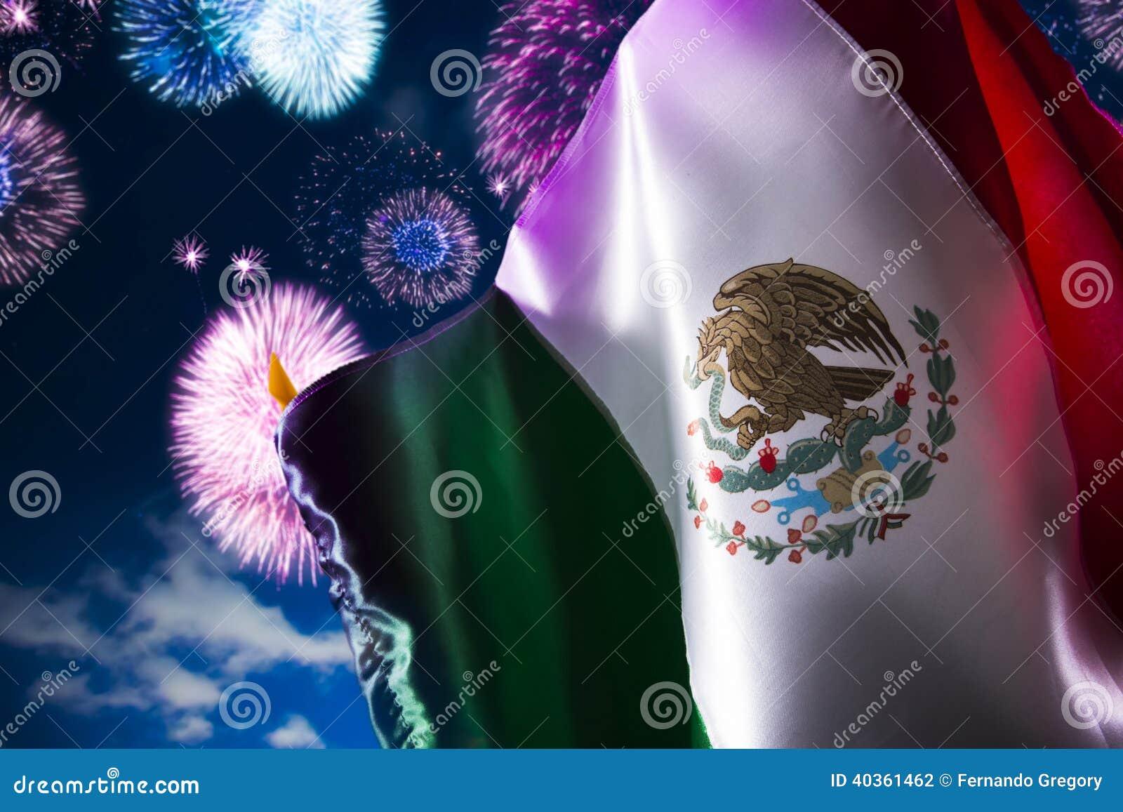 Mexicaanse vlag met vuurwerk, onafhankelijkheidsdag, cinco DE Mayo cel