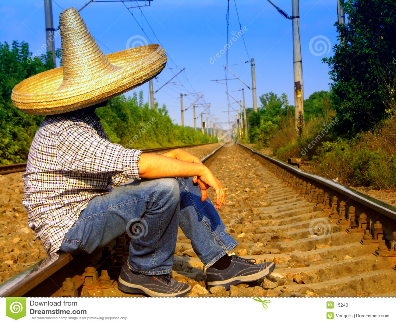 Mexicain attendant le train