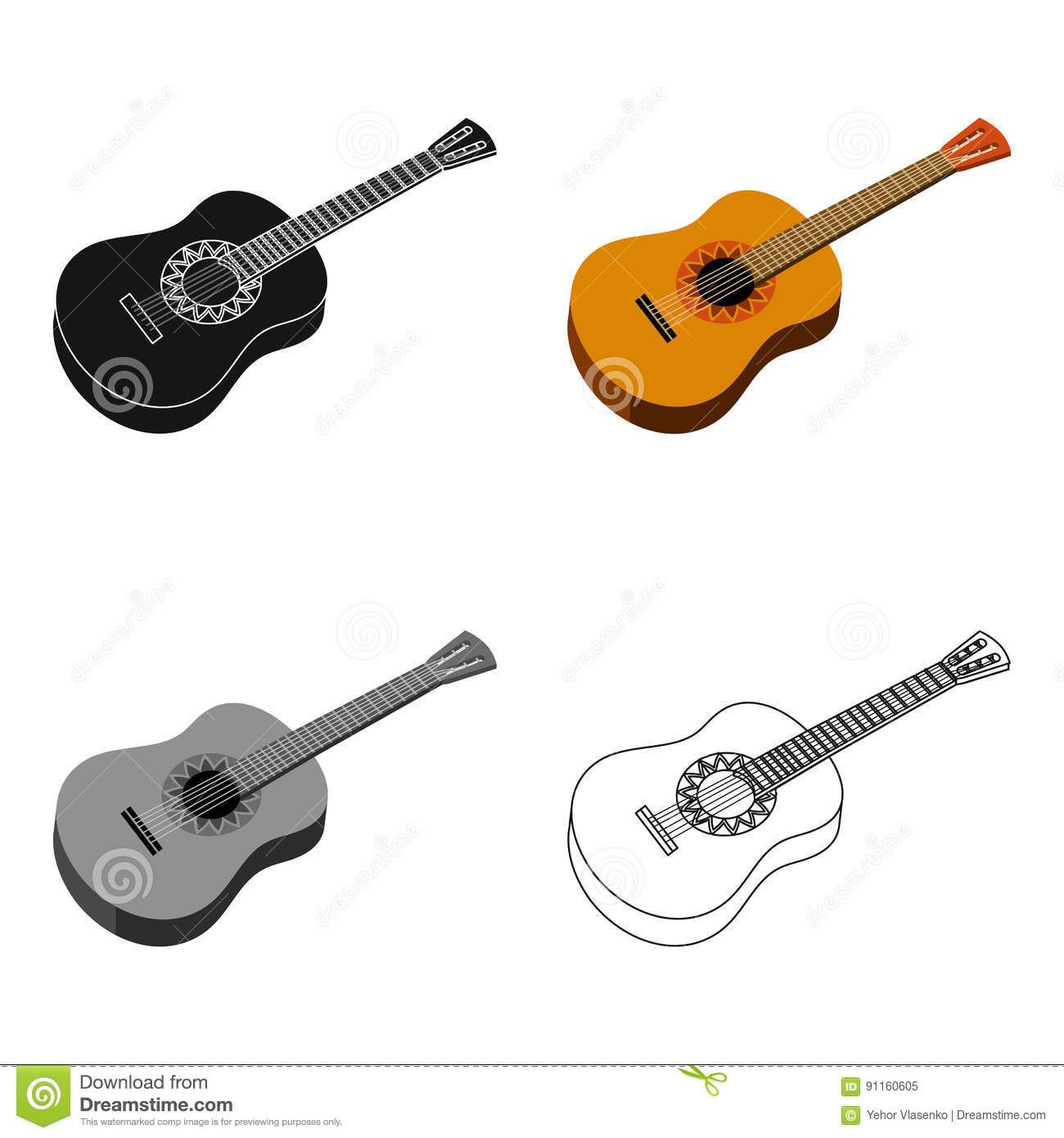 mexican acoustic guitar icon in cartoon style isolated on white background mexico country. Black Bedroom Furniture Sets. Home Design Ideas