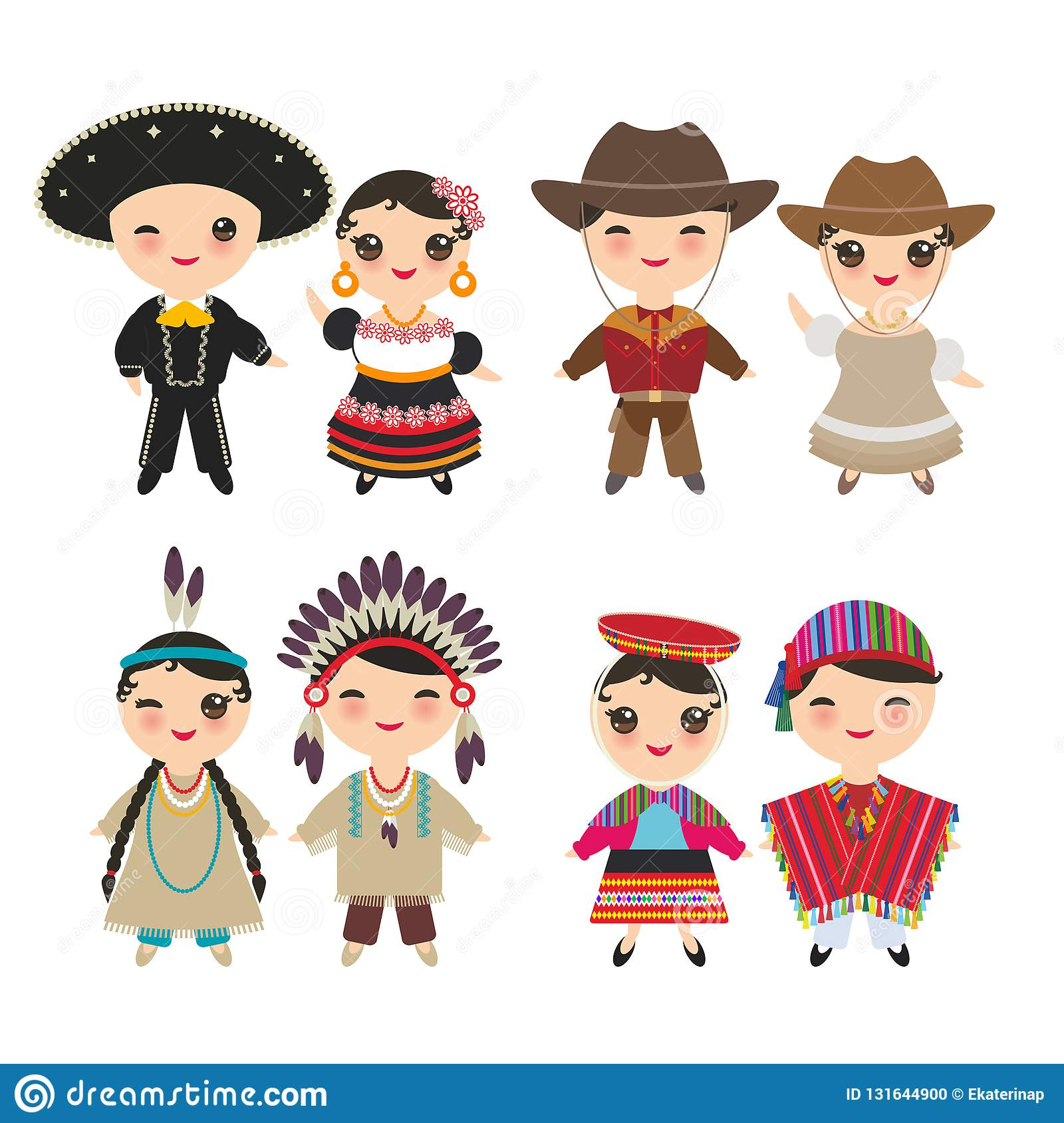 Mexican American indians Peruvian Cowboy boy and girl in national costume and hat. Cartoon children in traditional dress isolated