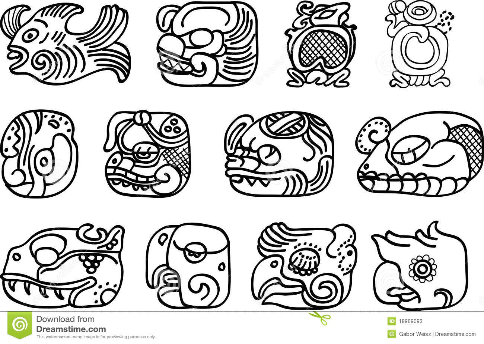 Mexican Aztec Or Maya Motifs Glyphs Illustration 18969093 Megapixl