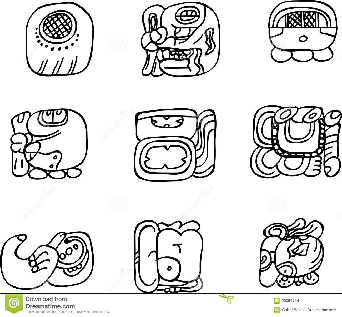 Mexican Aztec Or Maya Motifs Glyphs Stock Vector Illustration Of