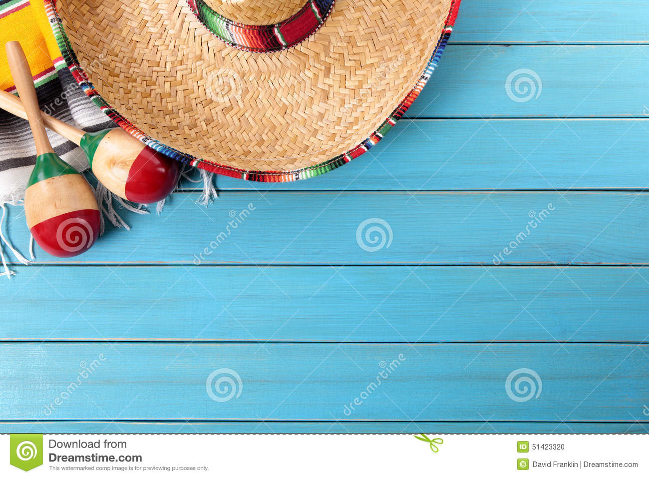 Mexico, Mexican sombrero blue wood background copy space