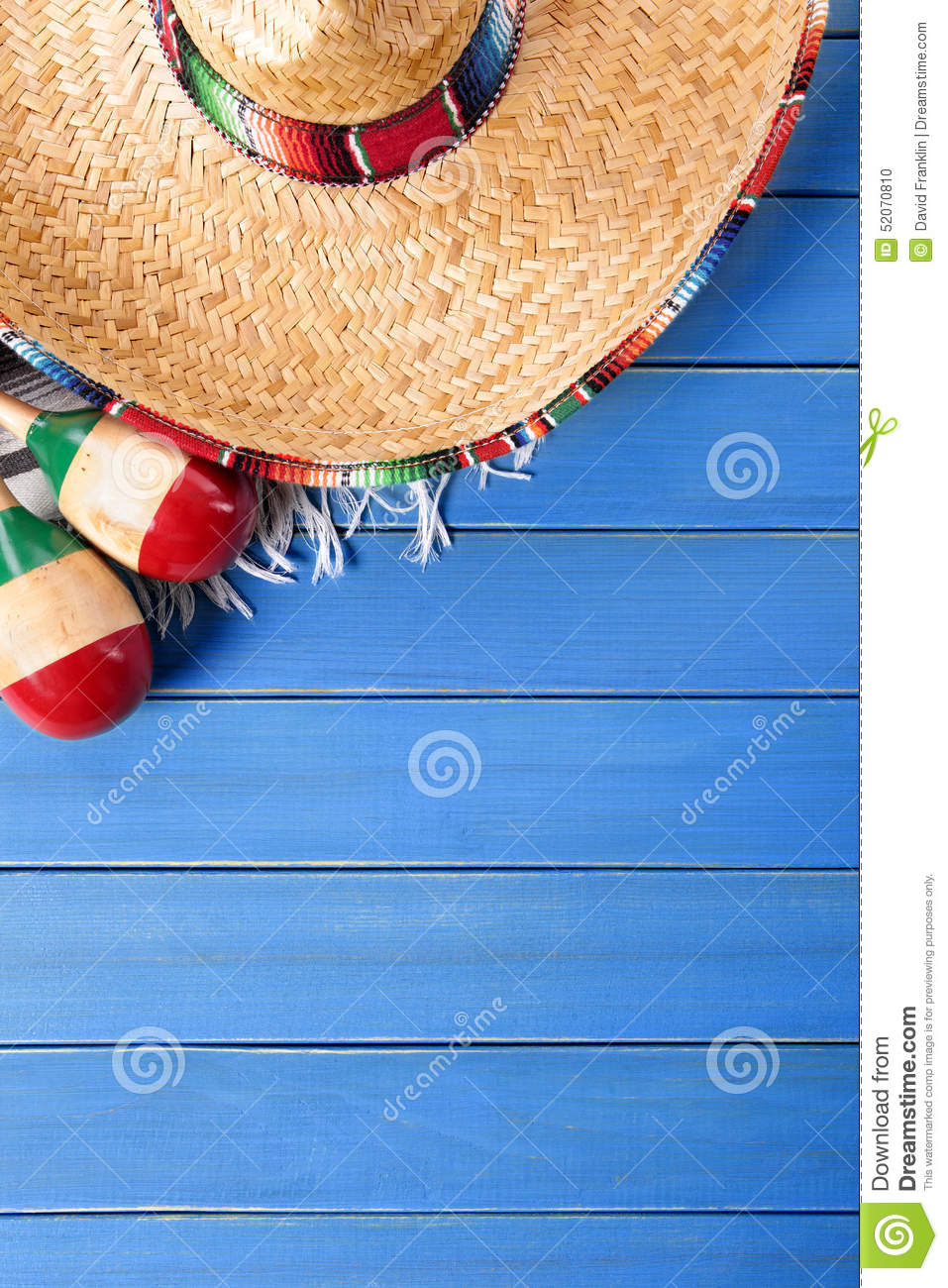 Mexican Background Sombrero Blue Wood Copy Space Vertical
